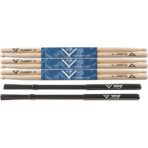 Vater Buy 3 Pair 5A Wood Tip Sticks get Free Whip-thumbnail