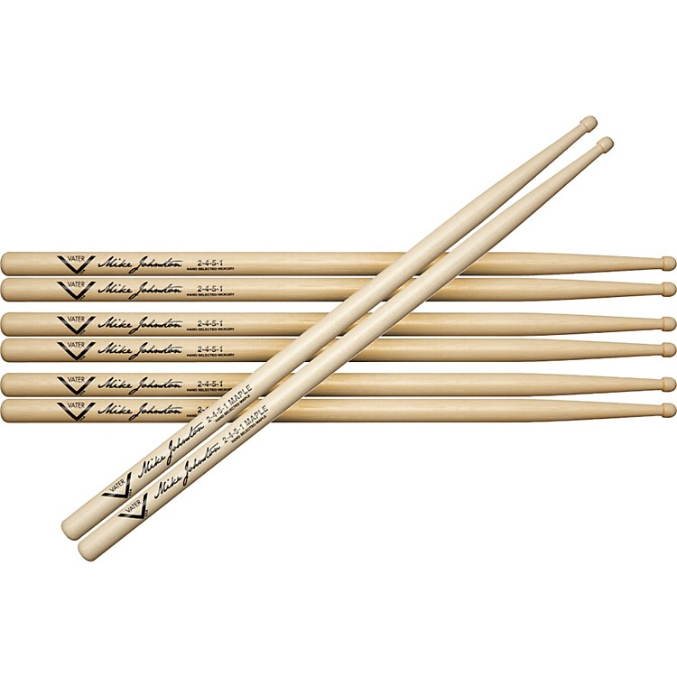 Vater Buy 3 Pair Mike Johnston 2451 Hickory Sticks Get 1 Maple Pair Free