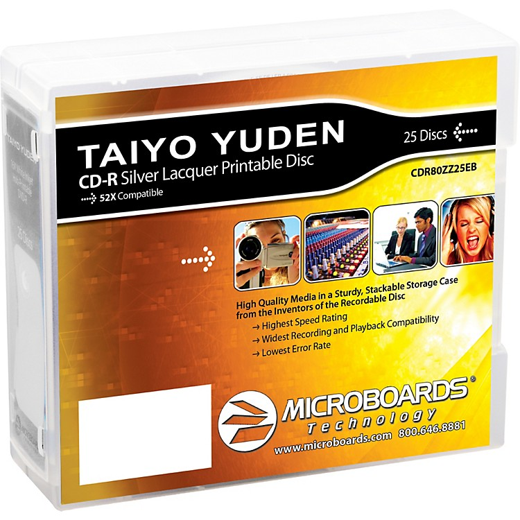 Taiyo Yuden CD-R 52X Silver Thermal Lacquer 25-Disc Spindle