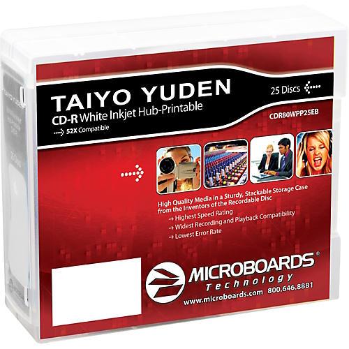 Taiyo Yuden CD-R 52X White Inkjet-Printable and Hub-Printable 25-Disc Spindle