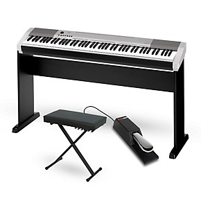 casio cdp 130 digital piano silver with cs44 wood stand sustain pedal and deluxe keyboard bench. Black Bedroom Furniture Sets. Home Design Ideas