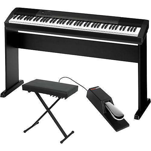 Casio cdp 130 digital piano with cs44 wood stand sustain pedal and deluxe keyboard bench Keyboard stand and bench