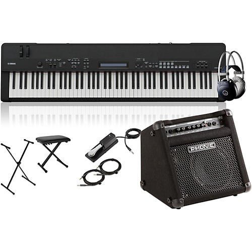 yamaha cp40 stage 88 key stage piano with keyboard amplifier stand headphones bench and. Black Bedroom Furniture Sets. Home Design Ideas