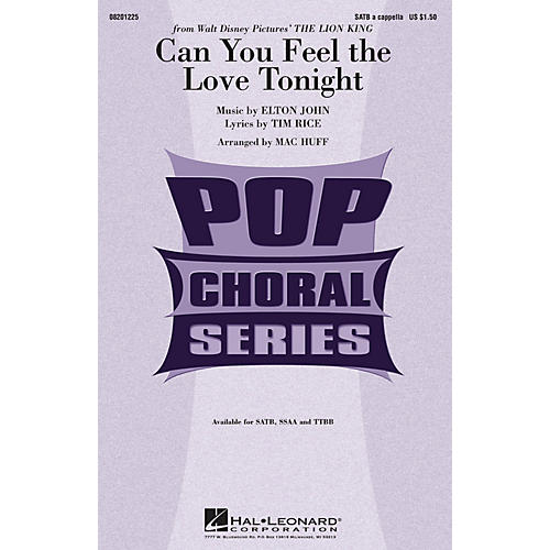 Hal Leonard Can You Feel the Love Tonight (from The Lion King) TTBB A Cappella Arranged by Mac Huff-thumbnail