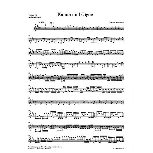 G. Henle Verlag Canon and Gigue for Three Violins and Basso Continuo in D Maj Henle Music by Pachelbel Edited Müllemann-thumbnail