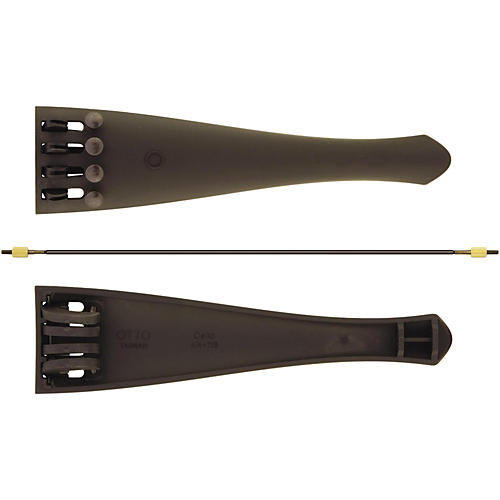 Otto Musica Carbon Composite Cello Tailpiece with Four Built-In Fine Tuners and Braided Steel Tailgut 1/4 - 1/8 Cello