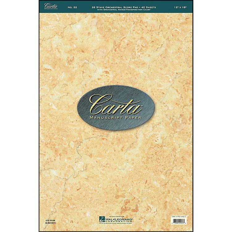 Hal LeonardCarta 22 Scorepad 12X18, 40 Sheet, 26 Stave, Orchestra Manuscript