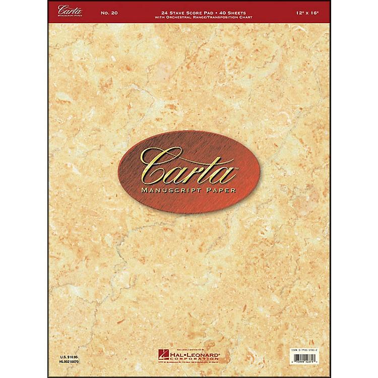 Hal LeonardCarta Manuscript 20 Scorepad 12 X 16, 40 Sheets, 24 Staves