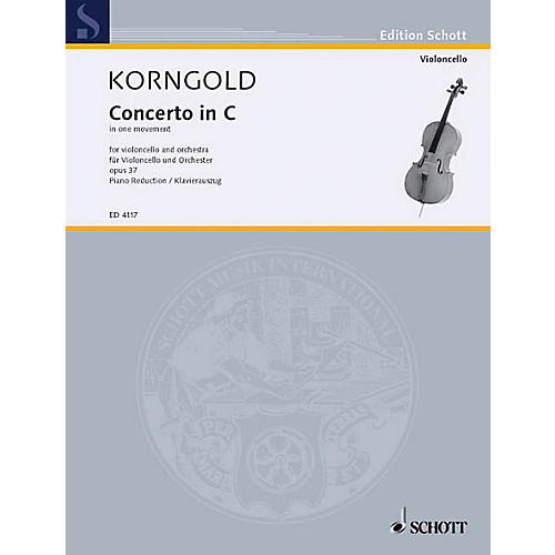 Schott Cello Concerto C Major, Op. 37 (Cello with Piano) Schott Series Composed by Erich Wolfgang Korngold-thumbnail