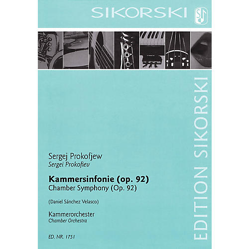 Sikorski Chamber Symphony for Chamber Orchestra, Op. 92 Score Composed by Prokofiev Arranged by Velasco