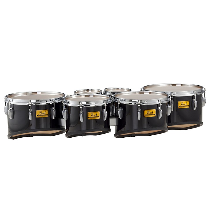 Pearl Championship Shallow Cut Marching Sextet Tom Set 6, 6, 10, 12, 13, 14 #46 Midnight Black 6 X 8