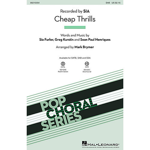 Hal Leonard Cheap Thrills SAB by Sia arranged by Mark Brymer-thumbnail