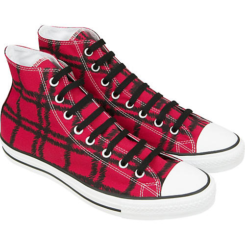 Converse Chuck Taylor Scribble Plaid Hi-Top Sneakers (Red)