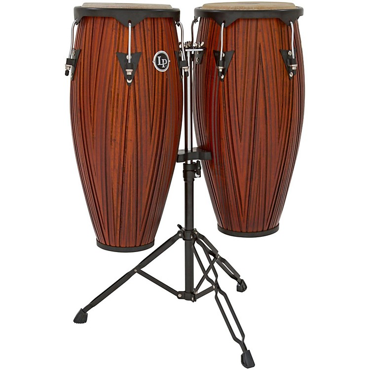 LP City Conga Set with Double Stand Carved Mango/Mahogany Wood 10 Inch & 11 Inch