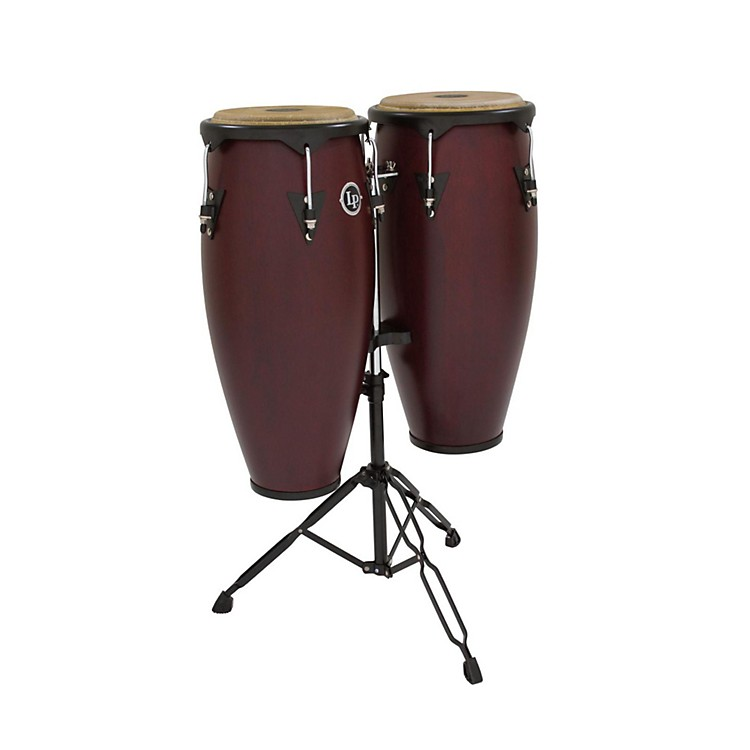 LP City Conga Set with Double Stand Dark Wood 10 Inch & 11 Inch