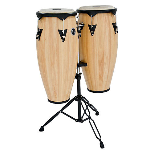 LP City Wood Conga Set w/ Double Stand Natural Wood 10 and 11 in.