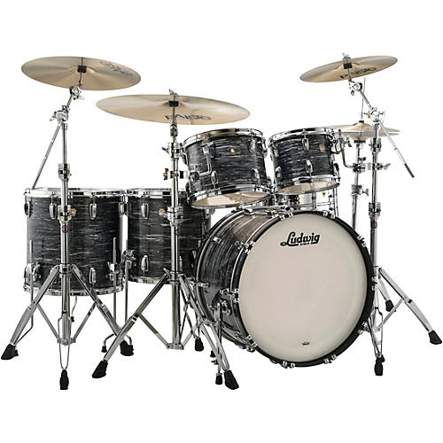 ludwig classic maple 5 piece studio shell pack with 22 in bass drum vintage black oyster pearl. Black Bedroom Furniture Sets. Home Design Ideas