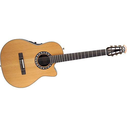 Ovation Classic Nylon-String Acoustic-Electric Guitar Mid-Depth with Case