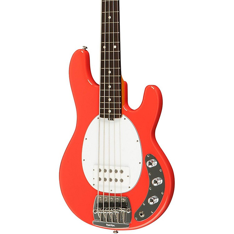 Music Man Classic Stingray 5 Electric Bass Guitar Coral Red Rosewood Fretboard with Birdseye Maple Neck