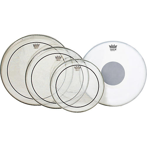 Remo Clear Pinstripe Standard Pro Pack with Free 14 in. Coated Emperor X Reverse Black Dot Snare Drum Head-thumbnail