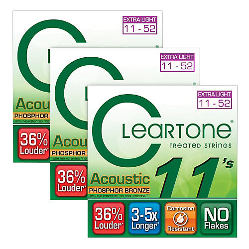 Cleartone Coated Extra Light Acoustic Guitar Strings Buy Two Get One Free  -thumbnail