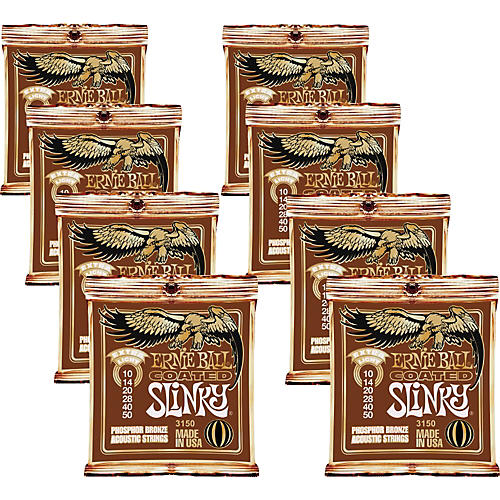 Ernie Ball Coated Slinky Phosphor Bronze Acoustic Strings Extra Light - 8 Pack