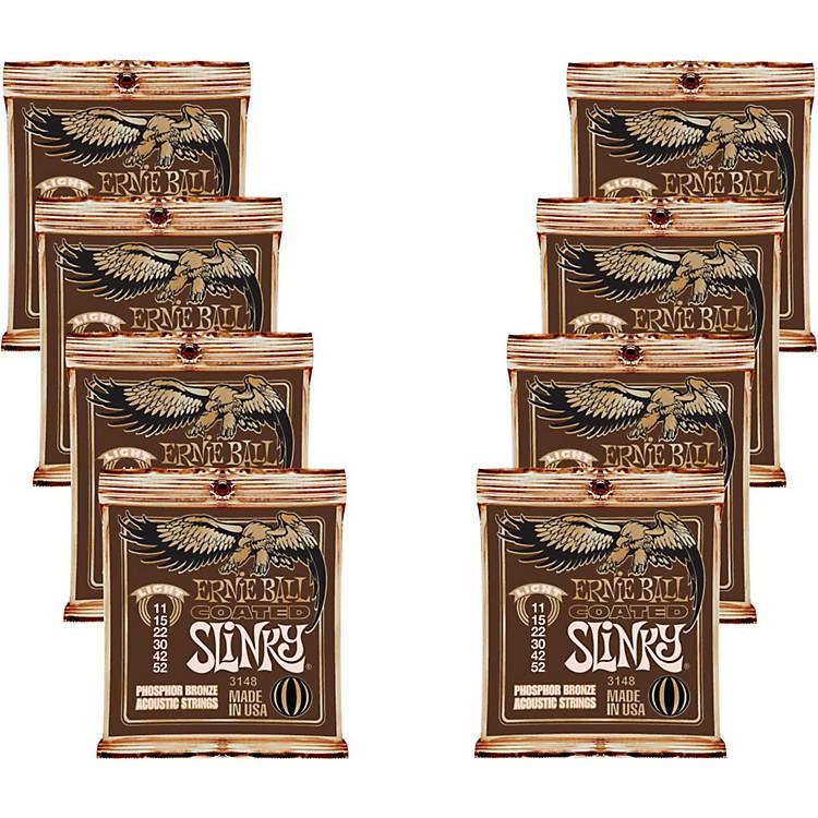 Ernie BallCoated Slinky Phosphor Bronze Acoustic Strings Light - 8 Pack