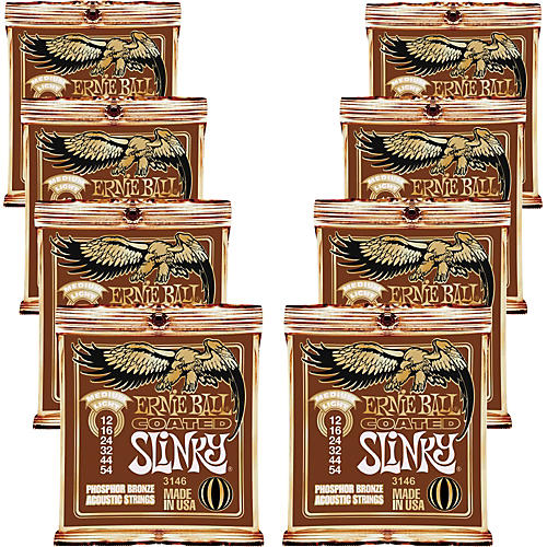 Ernie Ball Coated Slinky Phosphor Bronze Acoustic Strings Medium Light - 8 Pack