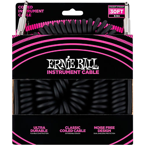 Ernie Ball Coiled Straight-Straight Instrument Cable - Black