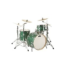 """DW Collector's Series 3-Piece Shell Pack with 24"""" Bass Drum Green Glass Chrome Hardware"""