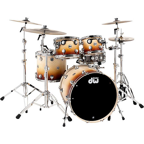DW Collector's Series 4-Piece Satin Specialty Burnt Toast Fade Shell Pack with Chrome Hardware