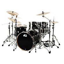 """DW Collector's Series 4-Piece Shell Pack with 23"""" Bass Drum Black Ice Chrome Hardware"""