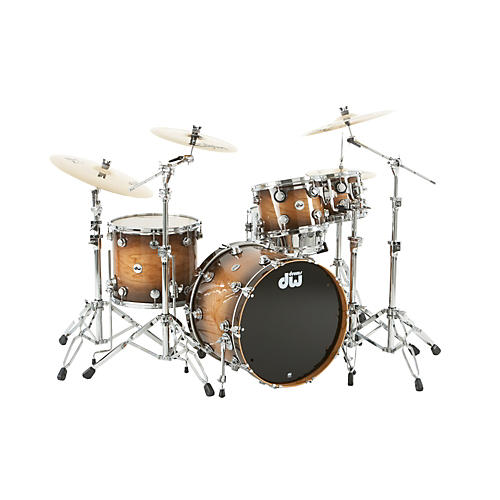 DW Collector's Series Lacquer Specialty 4-Piece Shell Pack All Cherry Natural to Candy Black Burst Chrome Hardware