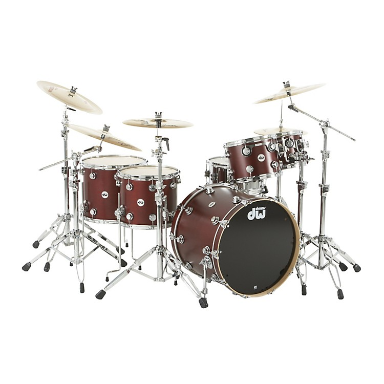 DW Collector's Series Satin Oil 5-Piece Shell Pack Ox Blood Red Chrome Hardware