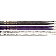 Vater Color Wrap 5A Hickory Drumstick 4-Pack Black Optic 5A