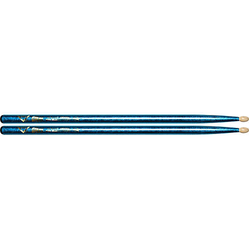 Vater Color Wrap Wood Tip Sticks - Pair 5A Blue Sparkle