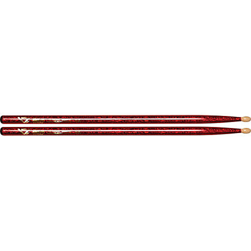 Vater Color Wrap Wood Tip Sticks - Pair 5A Red Sparkle