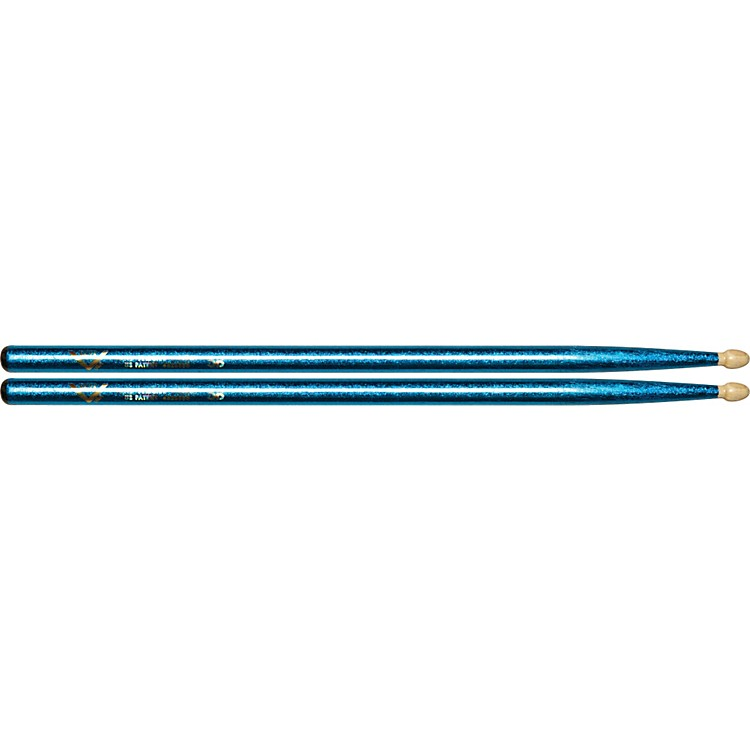 Vater Color Wrap Wood Tip Sticks - Pair 5B Blue Sparkle