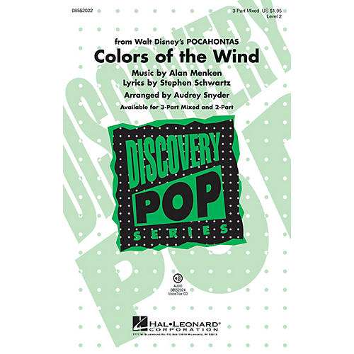 Hal Leonard Colors of the Wind (from Pocahontas) Discovery Level 2 3-Part Mixed arranged by Audrey Snyder
