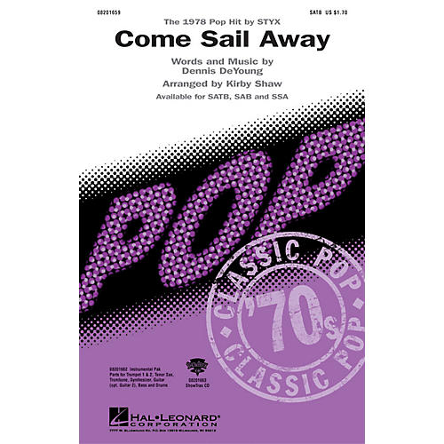 Hal Leonard Come Sail Away Combo Parts by Styx Arranged by Kirby Shaw