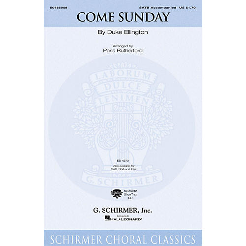 G. Schirmer Come Sunday (SSA) SSA Arranged by Paris Rutherford-thumbnail