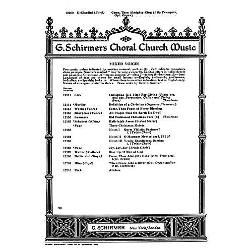 G. Schirmer Come Thou Almighty King (SATB with organ and 2 trumpets) SATB composed by Felice De Giardini-thumbnail