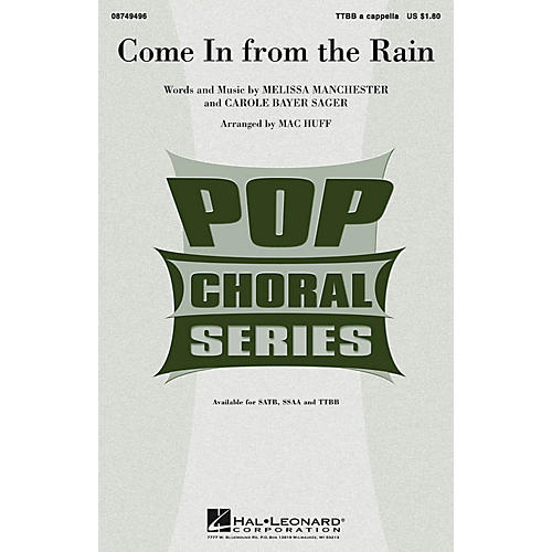 Hal Leonard Come in from the Rain TTBB A Cappella arranged by Mac Huff-thumbnail