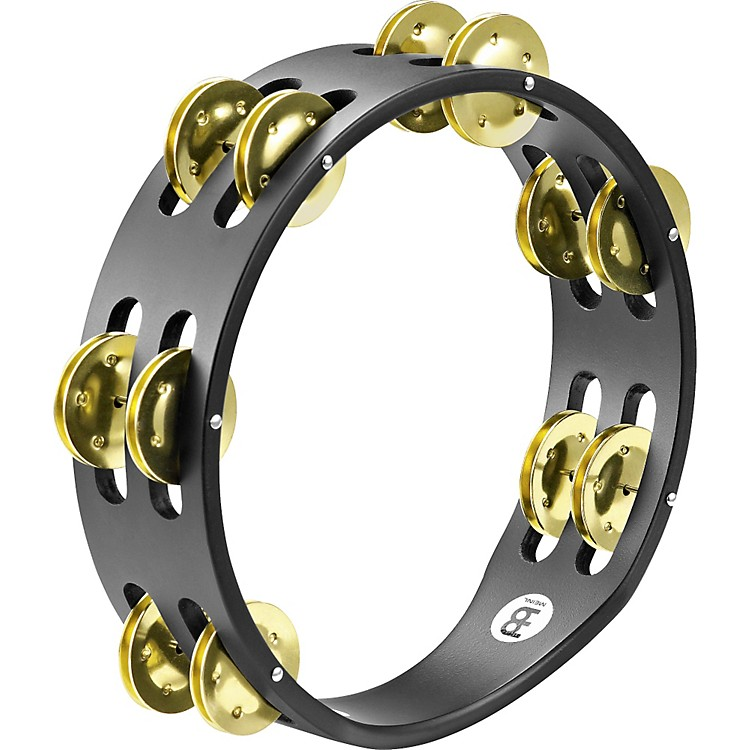 Meinl Compact Wood Tambourine Two Rows Brass Jingles Black