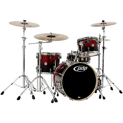 PDP Concept Birch 4-Piece Shell Pack Cherry to Black Fade