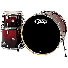 """PDP by DW Concept Maple 3-Piece Shell Pack with 24"""" Bass Drum Red To Black Fade"""