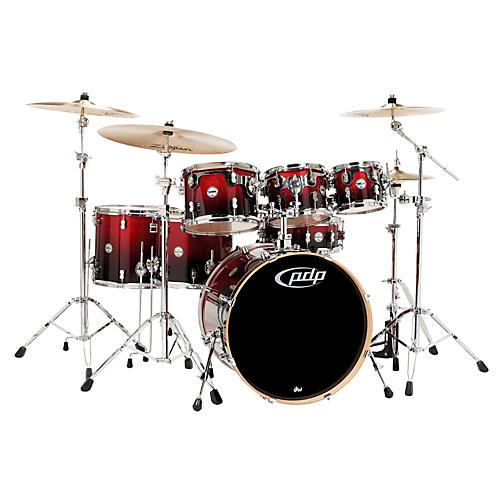 PDP Concept Maple by DW 7-Piece Shell Pack Red To Black Fade