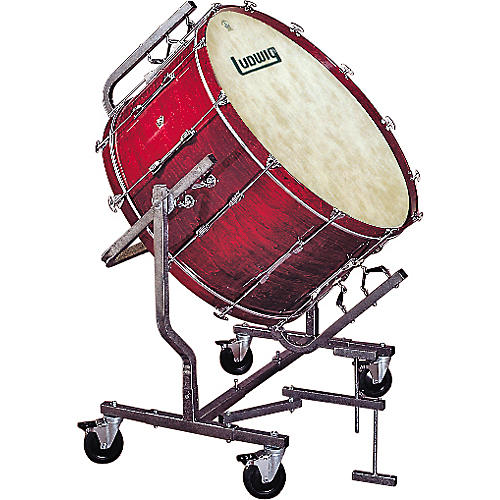 Ludwig Concert Bass Drum w/ Fiberskyn Heads & LE788 Stand Cherry Stain 16x36
