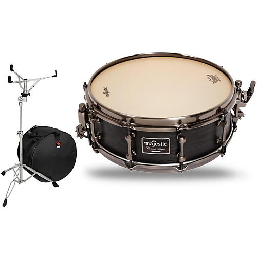 Majestic Concert Black Maple Snare Drum with Stand and Free Bag