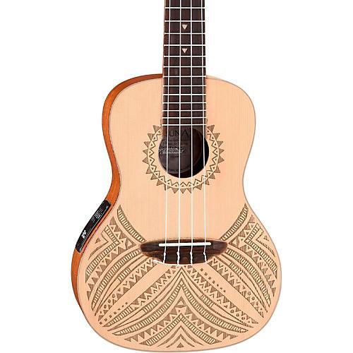 Luna Guitars Concert Solid Spruce Top Tapa Design Acoustic Electric Ukulele-thumbnail